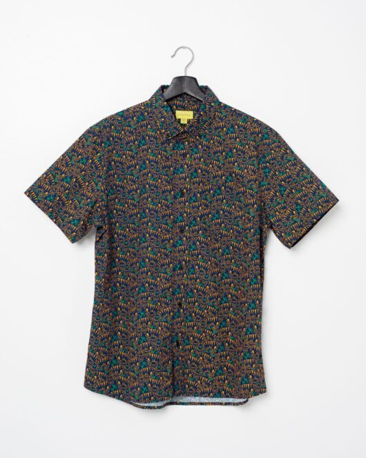 A product flat of a blue and orange casual button down short sleeve shirt with an all over cat print
