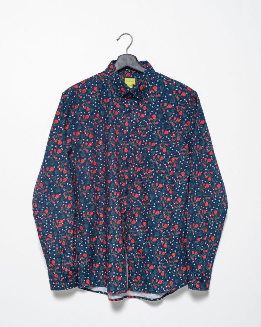 A product flat of a floral navy casual button down long sleeve shirt with an all over red floral print