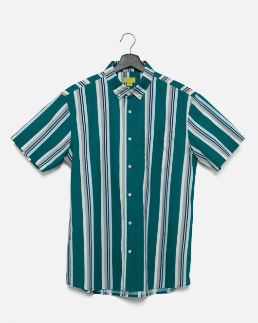 A product flat of a casual button down short sleeve shirt with green, white, grey and blue stripes